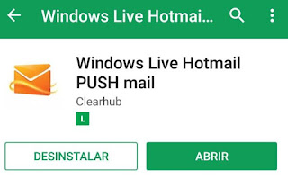 Aplicativo de e-mail Hotmail