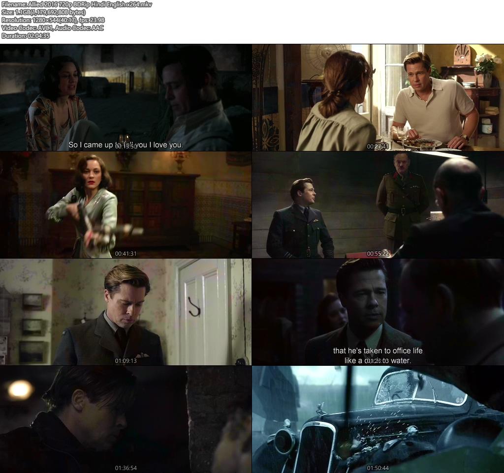 Allied 2016 720p BDRip Hindi English x264 | 480p 300MB | 100MB HEVC Screenshot