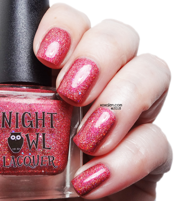 xoxoJen's swatch of Night Owl Lacquer Holo Love