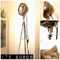 Lámparas de pie originales, especiales, únicas, artesanales, vintage recicladas, materiales reciclados, antiguas, focos de cine