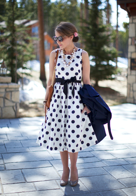 Hello Framboise J Crew White And Navy Polka Dot Dress