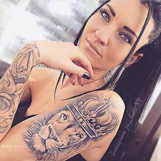 imagen de un tatuaje de león para mujer en el brazo