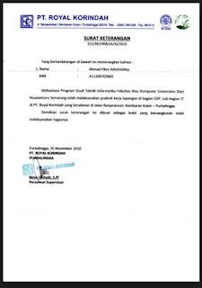 Surat keterangan karyawan