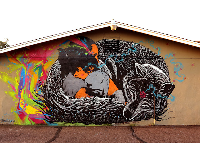 Our buddy Stinkfish just sent us some fresh images from his newest collaboration with Mazatl and Killjoy which was just completed somewhere on the streets of Phoenix in Arizona.