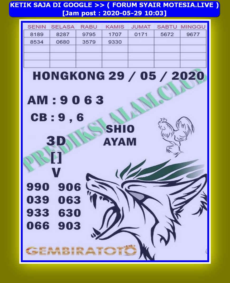 Kode syair Hongkong Jumat 29 Mei 2020 170