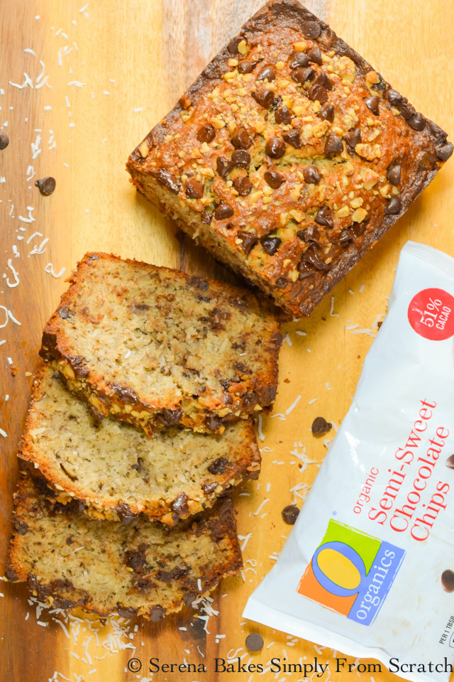 Banana Coconut Chocolate Chip Bread