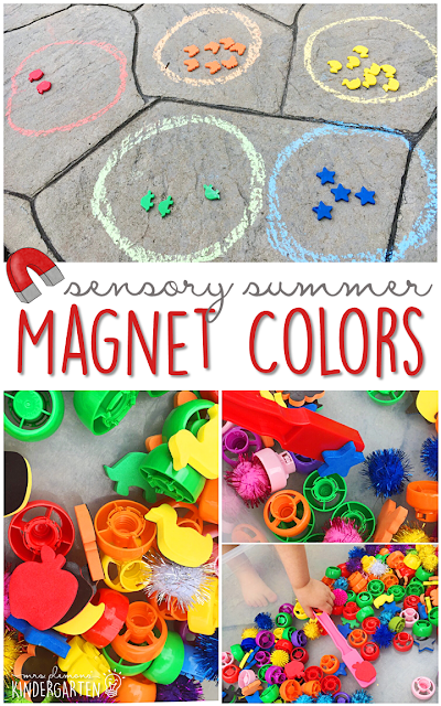Fill your sensory bin with magnetic counters, pouch lids and pom poms and have fun sorting with this sensory bin. This is the perfect outdoor activity for summer tot school, preschool, or kindergarten!