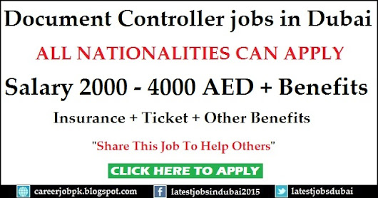 Document Controller Jobs In Dubai 2016  Document Controller