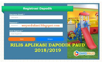 APLIKASI DAPODIK PAUD VERSI 3.3.0 TAHUN PELAJARAN 2018/209 - OFFLINE