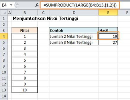 Contoh Rumus Excel Menjumlahkan Nilai Tertinggi