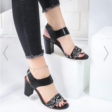 Sandale dama de zi cu toc gros negre cu snake print moderne