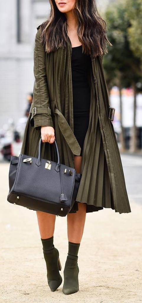 fall outfit inspiration : coat + bag + boots + little black dress