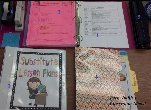 Fern Smith's Organization ~ Leaving Your Desk Always Ready for a Sub & a FREEBIE!