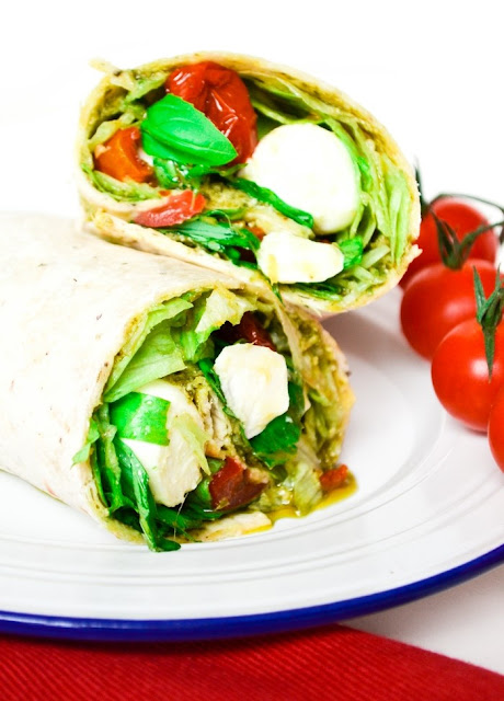 Lunchtime Caprese Pizza Wraps. Delicious and quick wraps with the flavours of a caprese salad. Suitable for vegetarians.