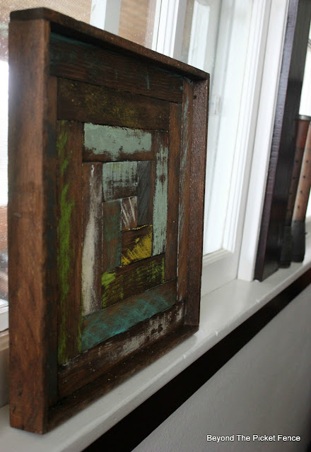 reclaimed wood, log cabin, salvaged wood art, lath, http://bec4-beyondthepicketfence.blogspot.com/2016/05/reclaimed-wood-log-cabin-square.html
