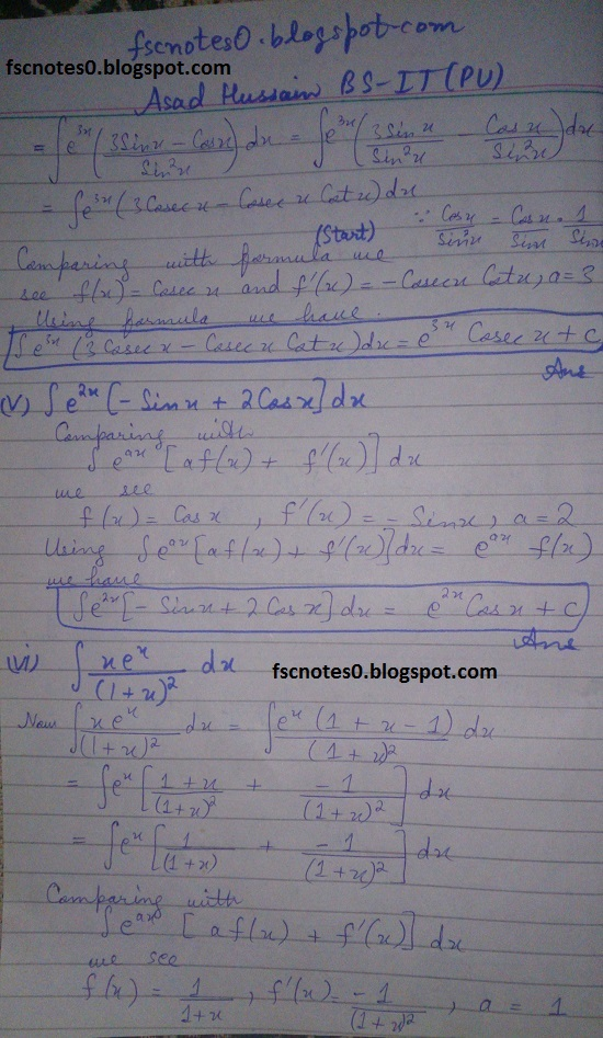 FSc ICS Notes Math Part 2 Chapter 3 Integration Exercise 3.4 Question 5 by Asad Hussain 1