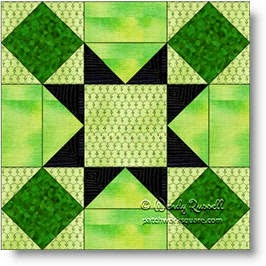 Rolling Stone quilt block image © W. Russell, patchworksquare.com