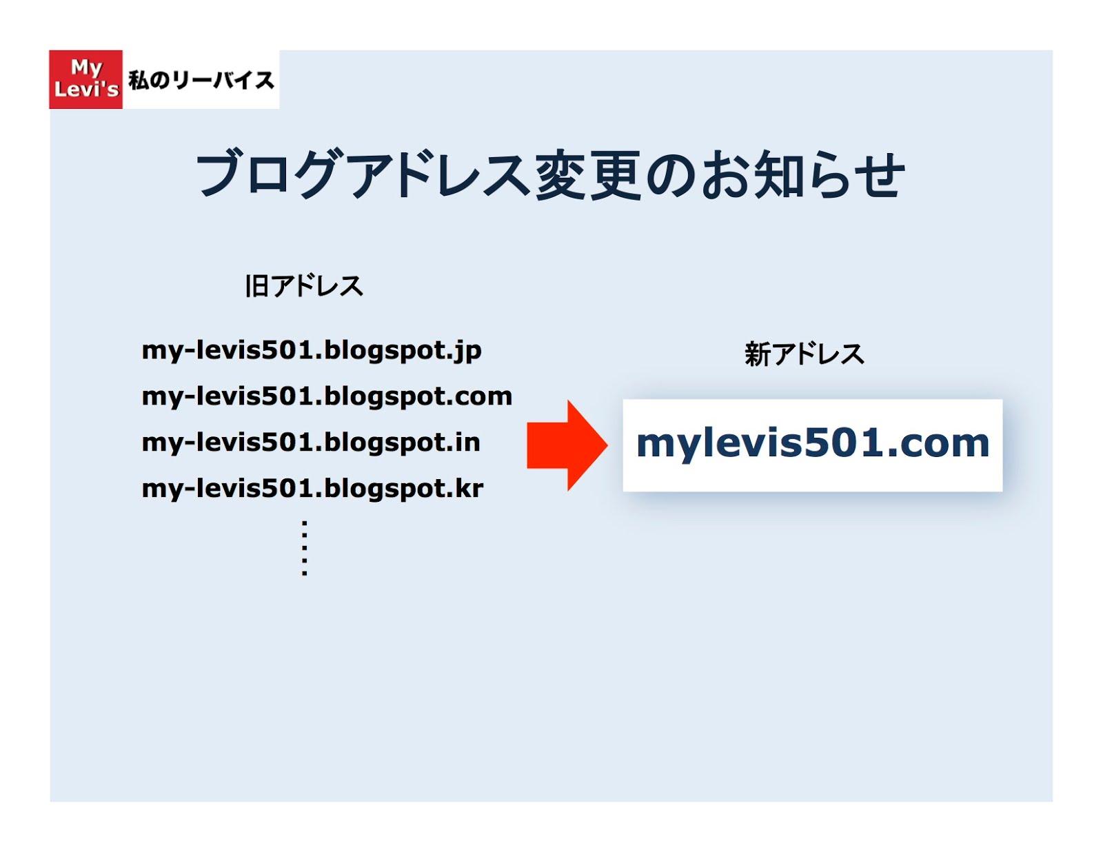 ブログアドレス変更のお知らせ 私のリーバイス