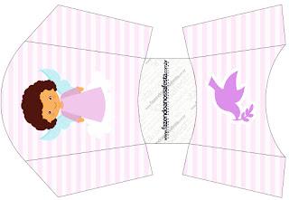 Brunette Angel Girl,  Free Printable Fries Box.