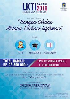 LOMBA KARYA TULIS ILMIAH NASIONAL DIREKTORAT PERPUSTAKAAN UNIVERSITAS ISLAM INDONESIA TAHUN 2016