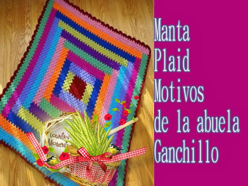 Delicadezas en crochet gabriela plaid manta de colores en - Mantas ganchillo colores ...