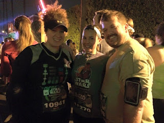 My husband, sister-in-law, and me getting up bright and early for the runDisney Star Wars Half Marathon race