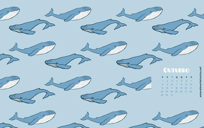 Papel de Parede de Outubro | Amavelmente Irônica (Baleia Azul)