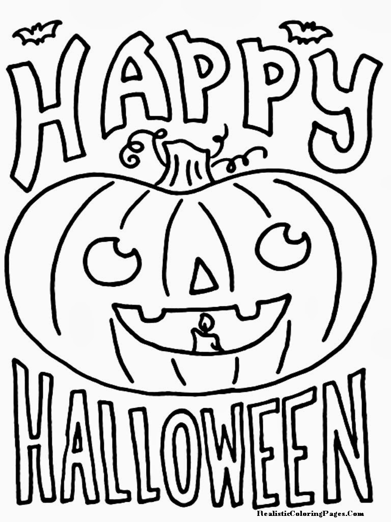 Happy halloween printable coloring pages realistic for Happy halloween coloring pages printable