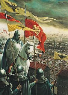 «Ο Κωνσταντίνος Παλαιολόγος στις επάλξεις,   ξημερώματα 29ης Μαΐου 1453». πίνακας ζωγραφικής   του Ελληνο-Ιρλανδού ζωγράφου Γιάννη Νίκου.