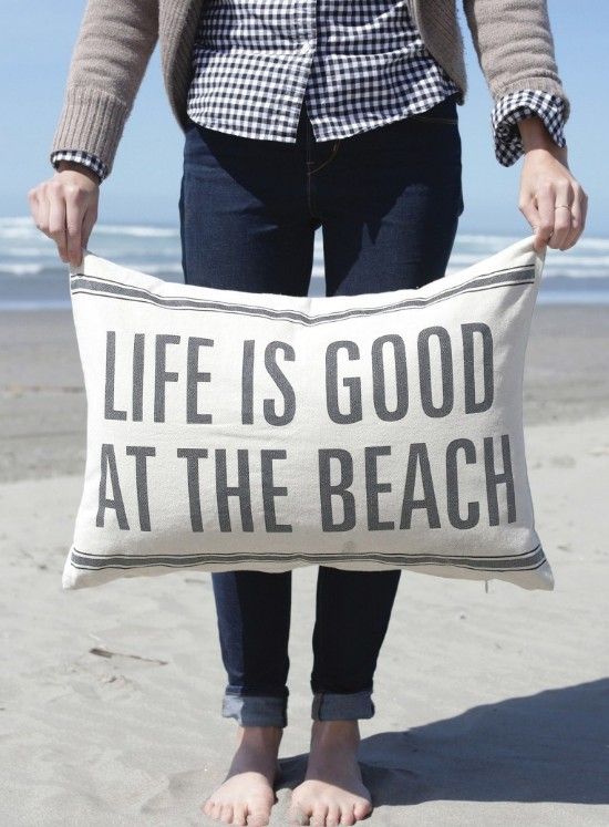 Large Life is Good at the Beach Quote Pillow Cotton/Linen