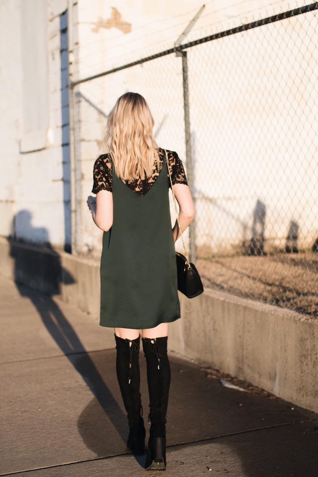 slip dress over a lace top