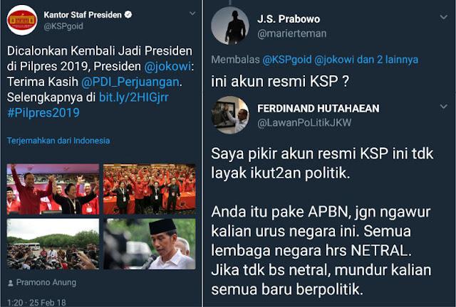 Gara-gara Ngetwit Begini, Akun Kantor Staf Presiden Dibanjiri Kecaman Warganet
