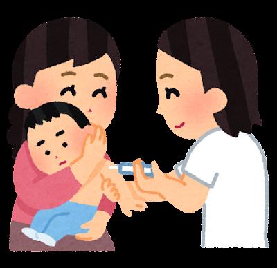 予防注射を受ける小さな子供のイラスト