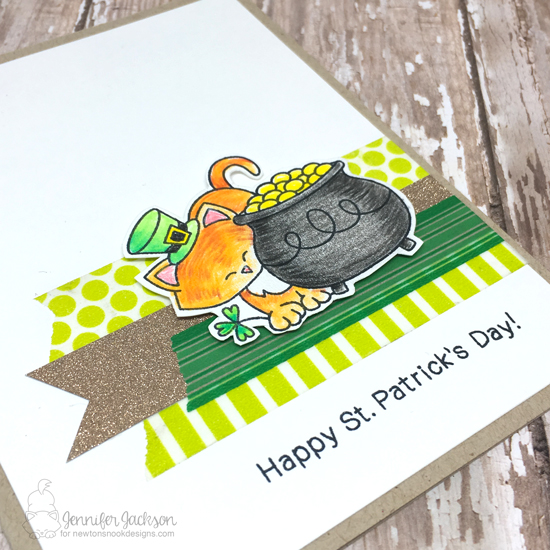 Happy St. Patricks Day Kitty by Jennifer Jackson | Newton's Pot of Gold Stamp set by Newton's Nook Designs #newtonsnook
