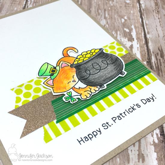 Happy St. Patricks Day Kitty by Jennifer Jackson   Newton's Pot of Gold Stamp set by Newton's Nook Designs #newtonsnook