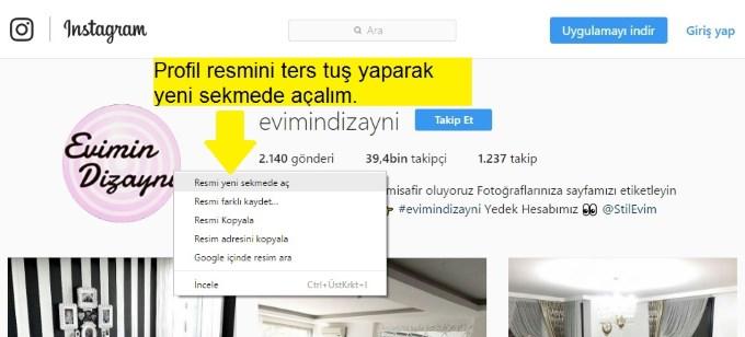 Instagram profil resmini tam boyut nasıl görürüm