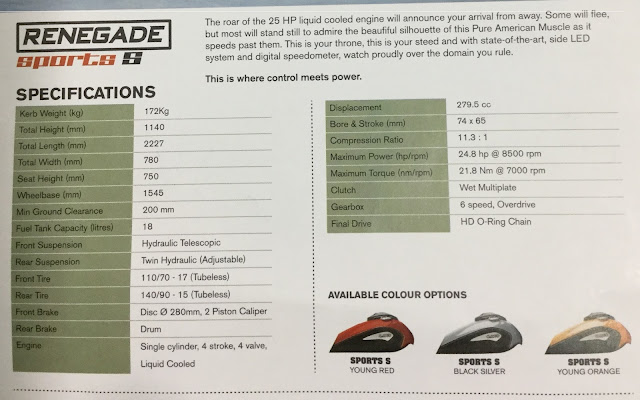 Renegade commando bike specifications