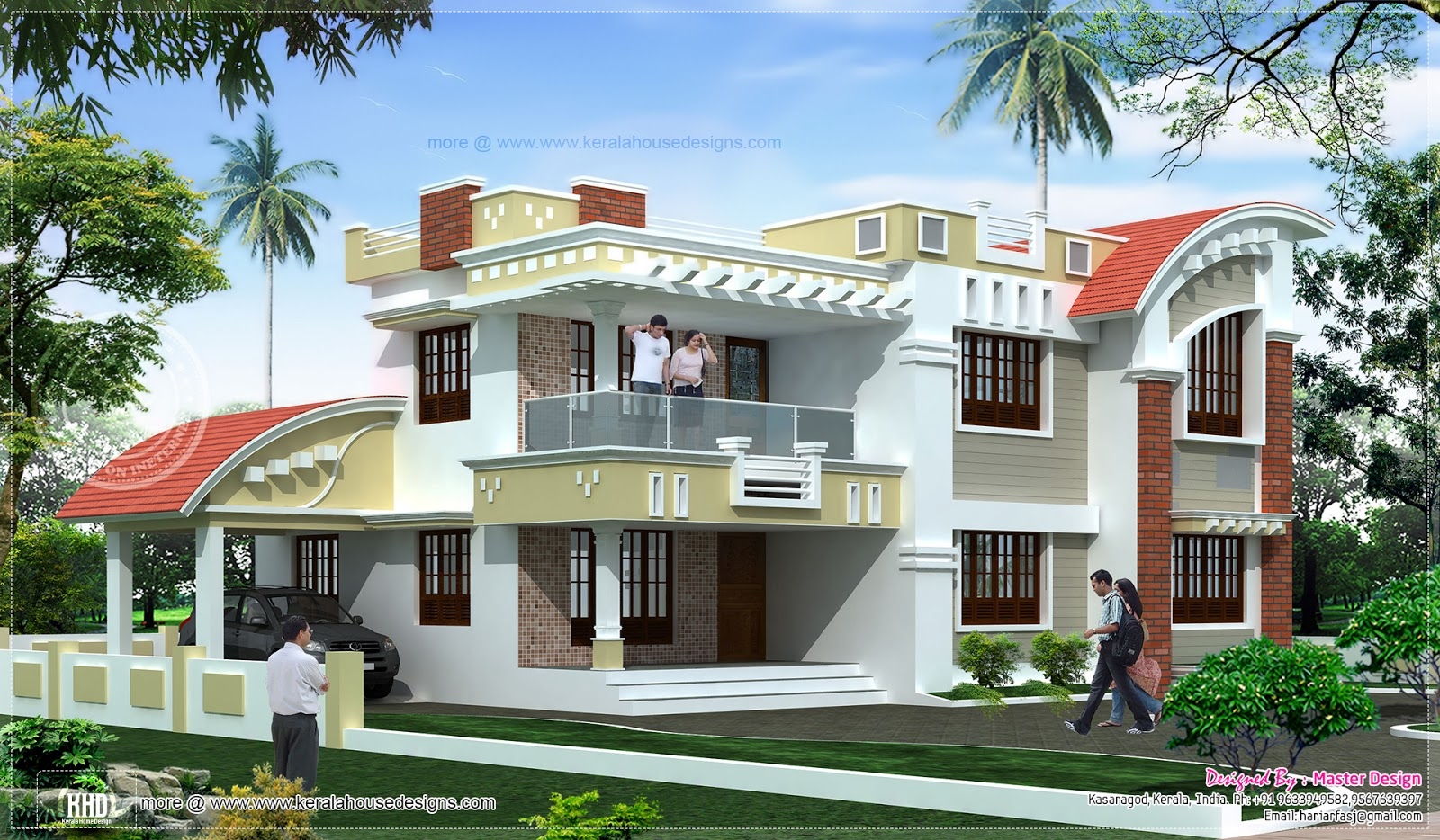 A mixed style kerala villa elevation with curved roofs for Home plans designs kerala