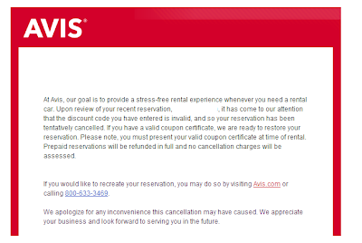 Avis Free Day Coupon - Cancelation