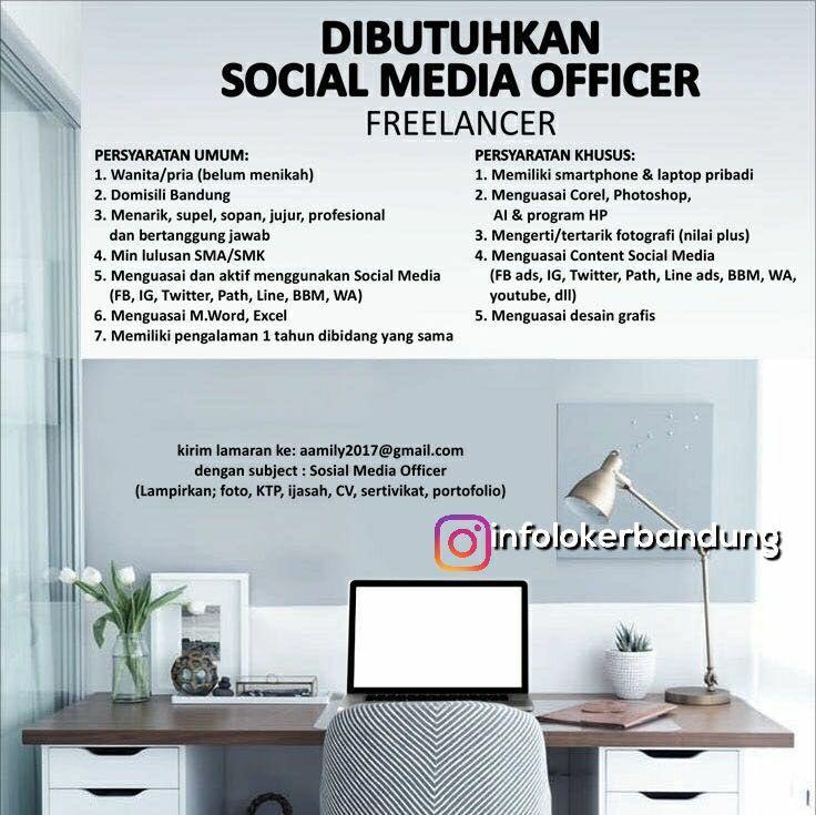 Lowongan Kerja Social Media Officer Freelancer Bandung Januari 2018