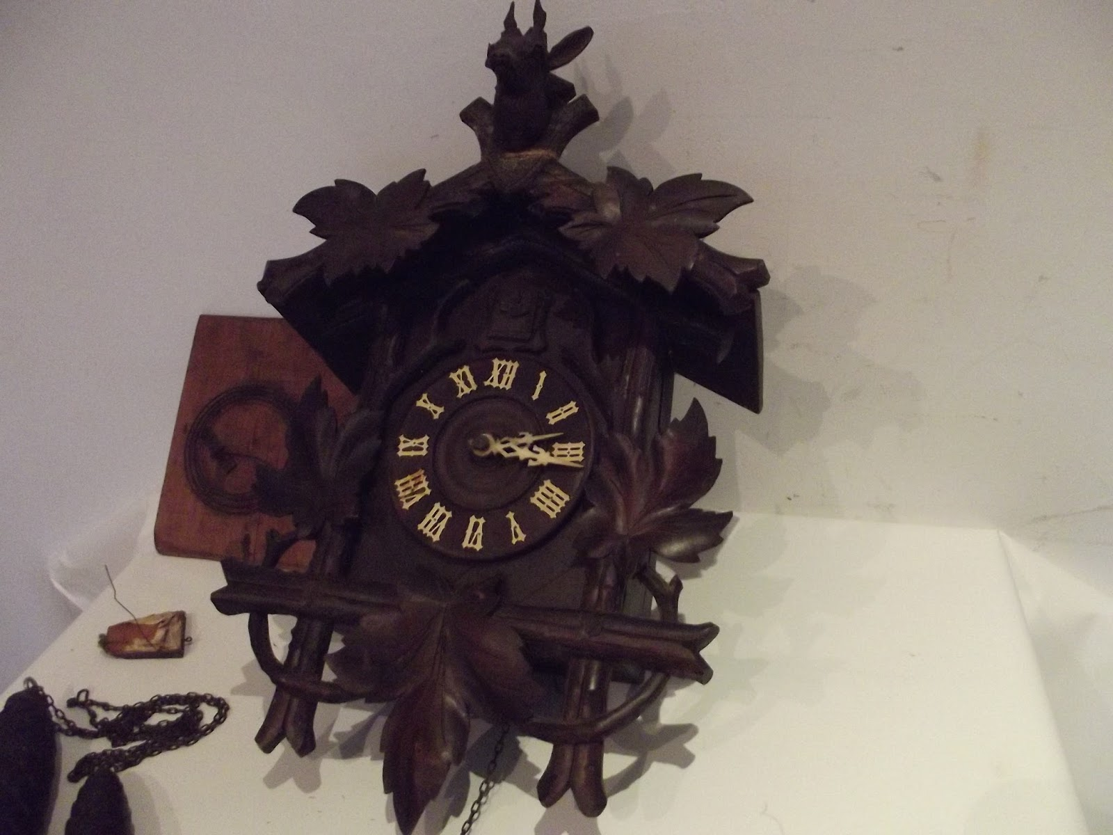 Antique cuckoo clock xith big black forest swiss german pendulum musical wall ebay - Cuckoo pendulum wall clock ...