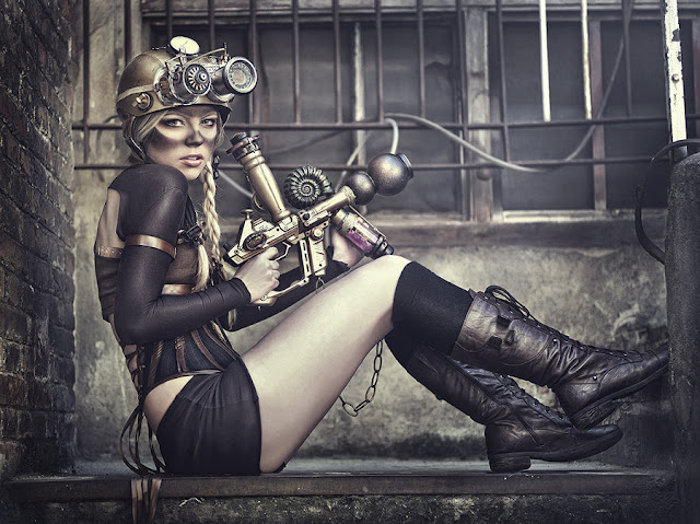 Sexy steampunk fashion. Steampunk clothing and pin-up in SteamGirl style. Steampunk makeup idea.
