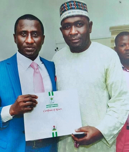 Photos of New Abia State Governor, Uche Ogah Receiving His Certificate of Return from INEC
