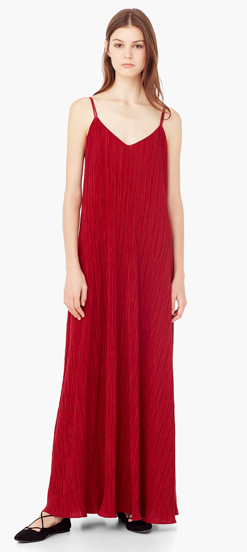 Robe longue rouge été Mango