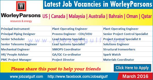Latest Job Vacancies In Worleyparsons Us Canada