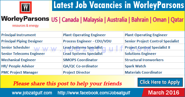 Latest Job Vacancies In Worleyparsons Us Canada