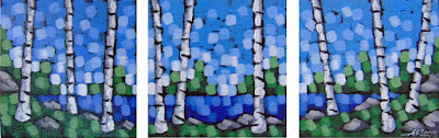 dreamland triptych by artist aaron kloss at sivertson gallery, painting of birch trees at a lake in summer, pointillism, northern minnesota landscape painting
