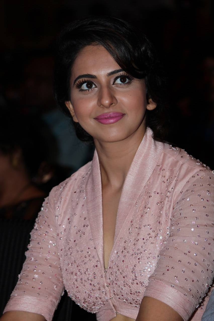 Rakul Preet Stills At Film Audio Lunch In Pink Dress