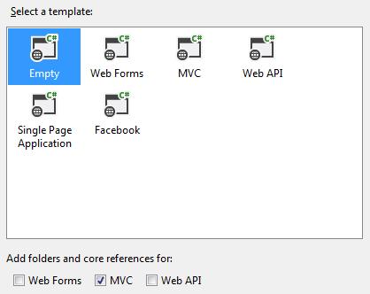 Selecting asp.net mvc 5 template