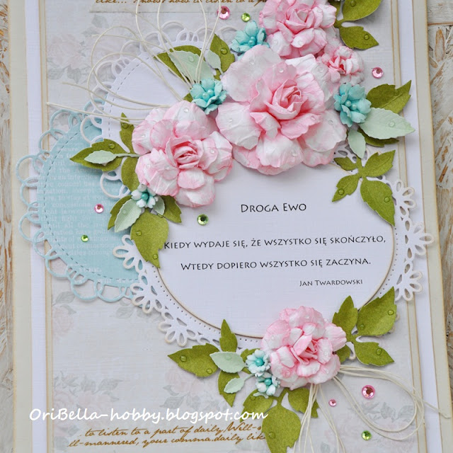 kartka z papierowymi różami
